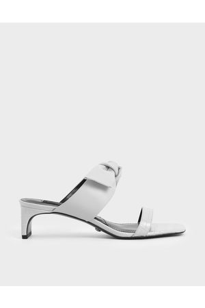 CHARLES & KEITH Croc-Effect Bow Leather Mules