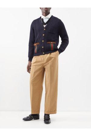 Gucci Web-stripe Suede-trimmed Wool-blend Cardigan - Mens - Navy