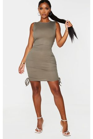 PRETTYLITTLETHING Shape Khaki Rib Ruched Side Sleeveless Bodycon Dress