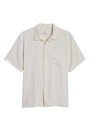Tommy Bahama Men's Herringbone Short Sleeve Silk Button-Up Camp Shirt