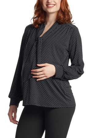 Everly Grey Women's Vanessa Polka Dot Tie Neck Maternity/nursing Top