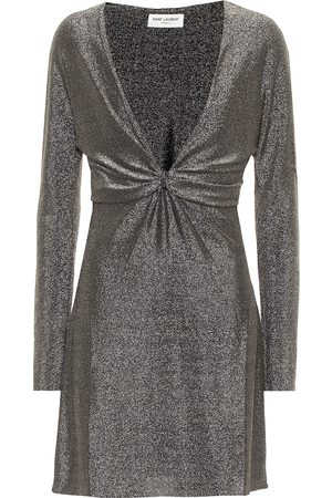 Saint Laurent Metallic jersey minidress
