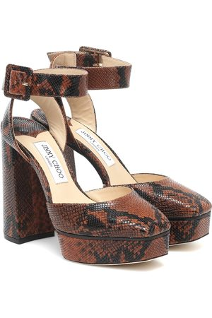 Jimmy Choo Jinn 125 snake-effect leather platform pumps