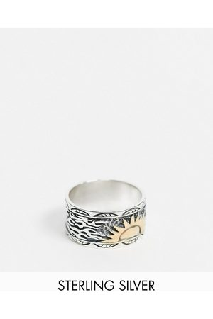 ASOS Sterling silver band ring with 14k gold plated sun design in burnished silver-Multi