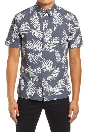 Vince Men Short sleeves - Men's Classic Fit Leaf Print Men's Short Sleeve Button-Up Shirt