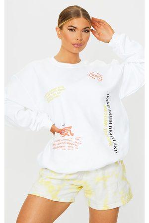 PRETTYLITTLETHING Ecru Tokyo Symbol Printed Sweatshirt
