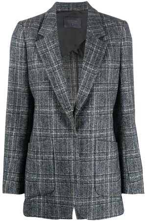 LORENA ANTONIAZZI Checked single-breasted blazer - Grey