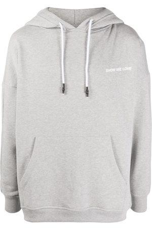 Honey Fucking Dijon Graphic-print drawstring hoodie - Grey