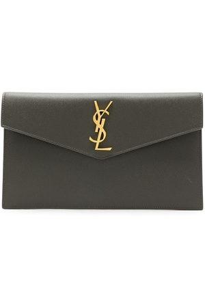 Saint Laurent Medium monogram envelope clutch bag - Grey