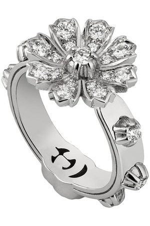 Gucci Ring with flower and diamonds - 9066