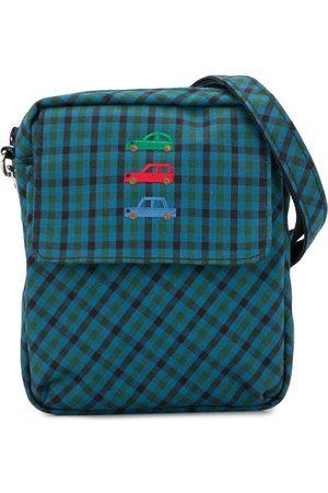 Familiar Check print embroidered shoulder bag