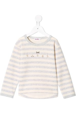 Familiar Embroidered detailing striped T-shirt - Grey