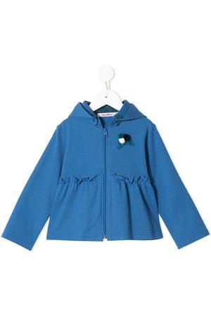 Familiar Ruffled detailing zip-up hoodie