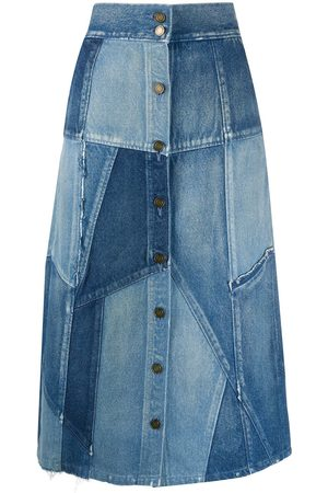 Saint Laurent Patchwork denim skirt