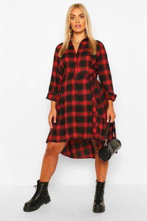 Boohoo Womens Plus Flannel Wrap Belted Shirt Dip Hem Midi Dress - - 12