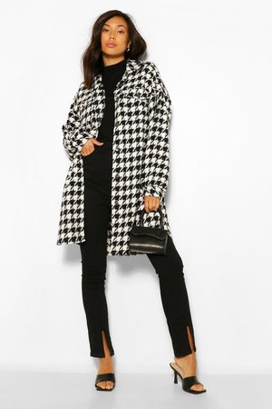 Boohoo Womens Super Oversized Wool Look Dogtooth Shacket - - 4