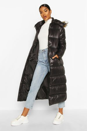 Boohoo Women Parkas - Womens Maxi Cire Panelled Padded Jacket With Faux Fur Trim - - 4