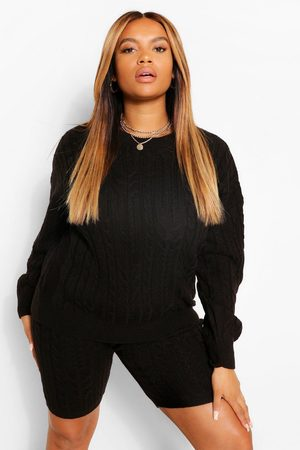 Boohoo Womens Plus Cable Knitted Co -Ord Lounge Set - - 12-14