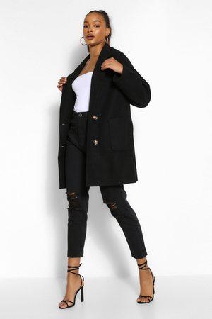 Boohoo Womens Tall Wool Oversized Pocket Coat - - 2