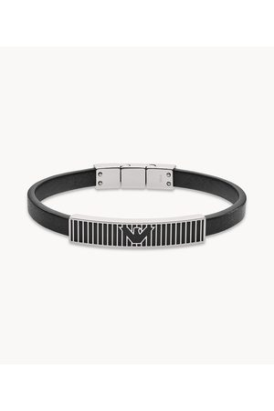 Brands Emporio Armani Men's Black Leather Id Bracelet