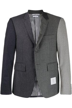 Thom Browne Men Blazers - Funmix Super 120s flannel blazer - Grey