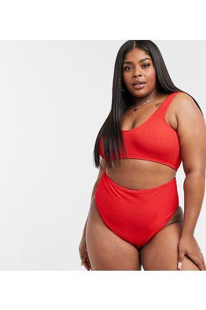 ASOS Women Bikinis - ASOS DESIGN curve crinkle high waist bikini bottom in