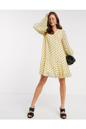 Y.A.S Women Party Dresses - Mini smock dress with frill sleeve detail in black spot
