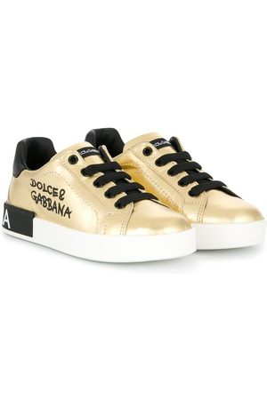 Dolce & Gabbana Girls Sneakers - Portofino laminated logo sneakers