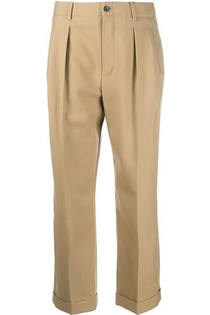 Saint Laurent Cropped high-waisted trousers - Neutrals