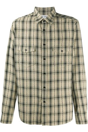 Saint Laurent Plaid long-sleeve shirt - Neutrals