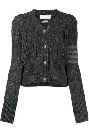 Thom Browne Women Cardigans - 4-bar aran cable cardigan - Grey
