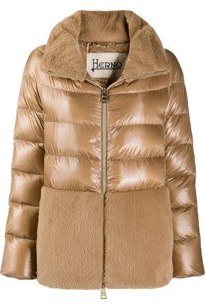 HERNO Panelled high-neck puffer jacket - Neutrals
