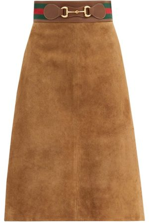 Gucci Women Leather Skirts - Web-stripe & Horsebit Suede Skirt - Womens