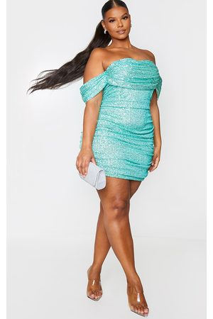 PRETTYLITTLETHING Plus Sage Sequin Bardot Bodycon Dress