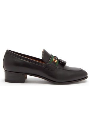 Gucci GG And Web Stripe Tasselled Leather Loafers - Womens