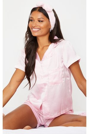 PRETTYLITTLETHING Women Pajamas - With Piping Detail Satin Pocket PJ Shorts Set
