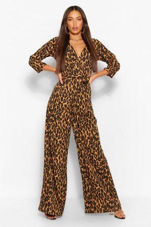 Boohoo Womens Tall Leopard Wrap Tie Belt Jumpsuit - - 2