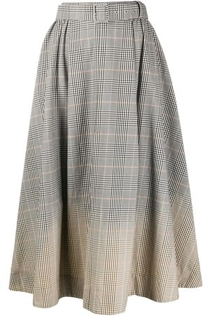 Msgm Women Midi Skirts - Faded check midi skirt