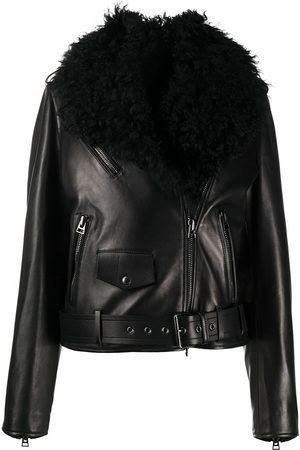 Tom Ford Removable shearling collar biker jacket