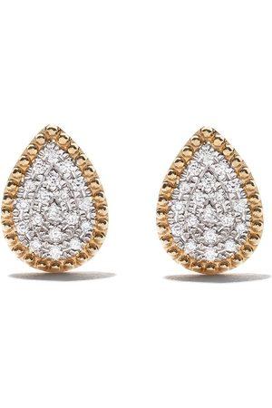 AS29 Women Earrings - 18kt yellow Mye pear beading pave diamond earrings