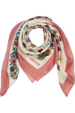 Gucci Floral Print Lightweight Silk Scarf