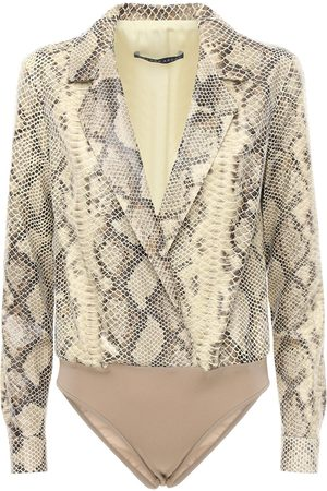 Zeynep Arcay Shirt-style Snake Print Leather Bodysuit