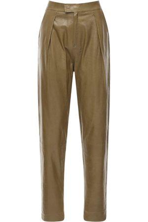 Zeynep Arcay Women Leather Pants - Pleated Leather Pants