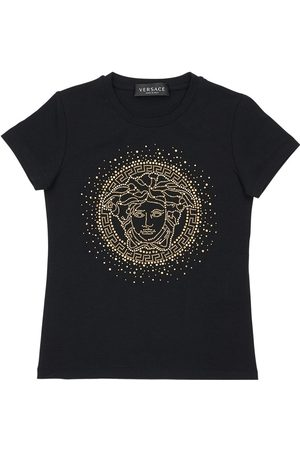 VERSACE Embellished Cotton Jersey T-shirt