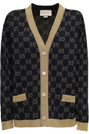 Gucci Women Cardigans - Gg Supreme Lurex & Cotton Knit Cardigan