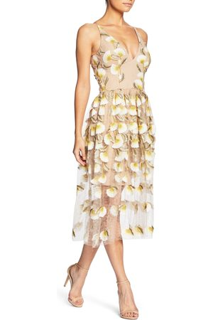 Dress The Population Women's Betsy Plunging Lace Midi Dress