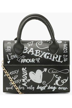 Boohoo Womens All Over Graffiti Slogan Cross Body Bag - - One Size