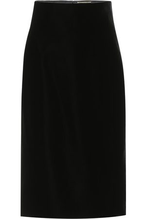 Saint Laurent High-rise velvet midi skirt