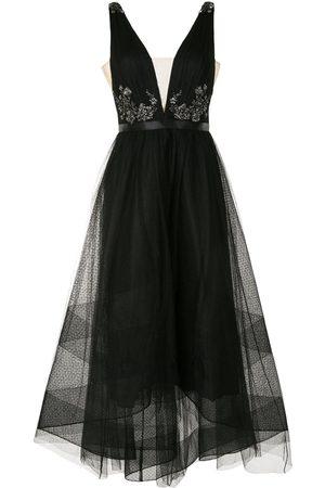 Marchesa Notte Sequin V-neck high-low dress