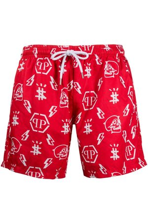 Philipp Plein Men Swim Shorts - Monogram logo swim shorts